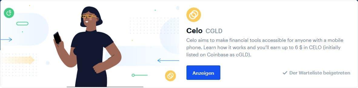 Celo (CGLD) im Wert von 6$ bei Coinbase Earn