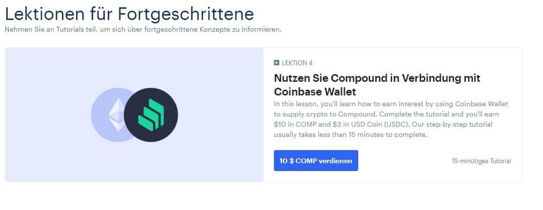 Coinbase Earn Compound | 10 US-Dollar geschenkt für eine neue Lektion