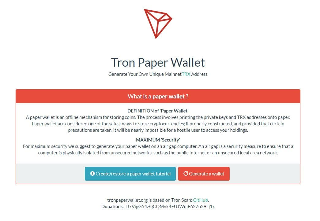 tron paper wallet
