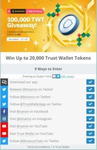 trust wallet giveaway tasks